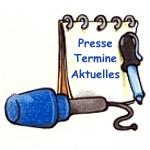 Mikrofon und Schreibblock, auf dem die Worte Presse, Termine, Aktuelles stehen